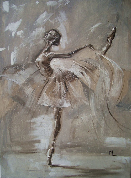 """ GREY BIRD ... ""- ballerina liGHt  ORIGINAL OIL PAINTING, GIFT, PALETTE KNIFE - Image 0"