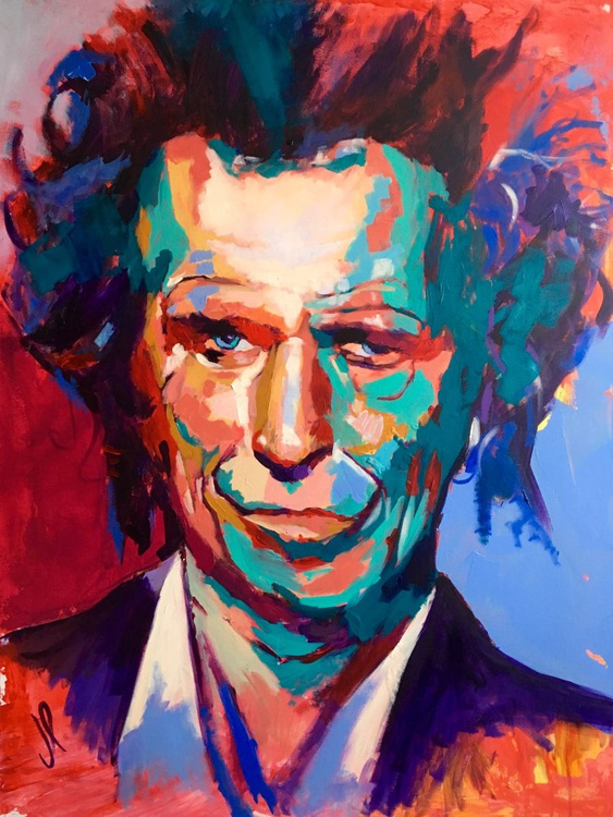 Keith Richards Portrait - the Rolling Stone Acrylic on Canvas 116x89cm - Image 0