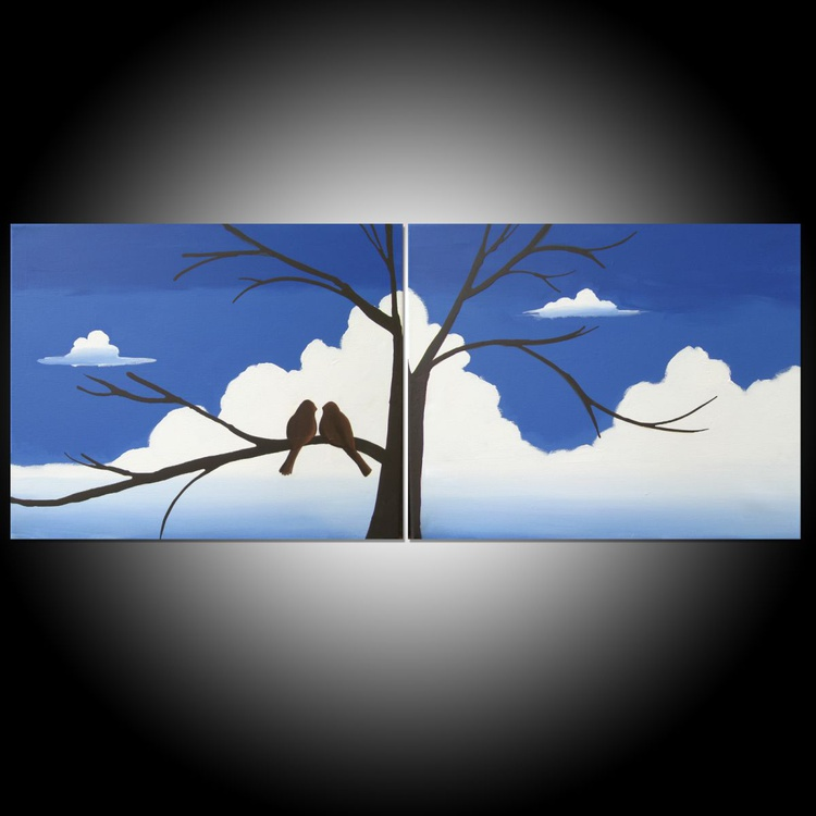 """love bird abstract landscape original """"Together Forever """" painting art canvas - 40 x 16 inches romance  heart - Image 0"""