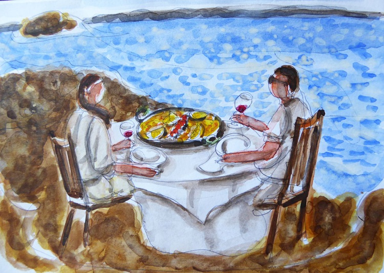 1 Line - Couple dining at the beach: paella - Image 0