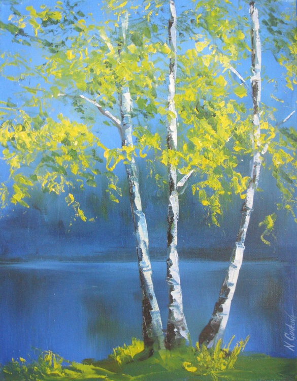 Summer evening landscape with birch trees - Image 0