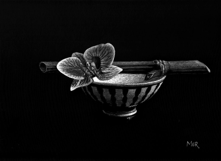 Bowl, Bamboo and Orchid - Image 0