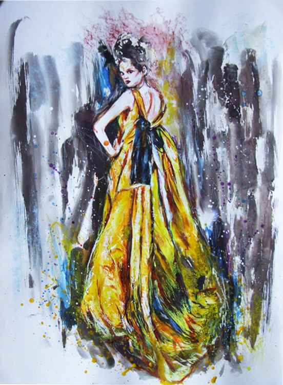 Original Watercolour The yellow dress -