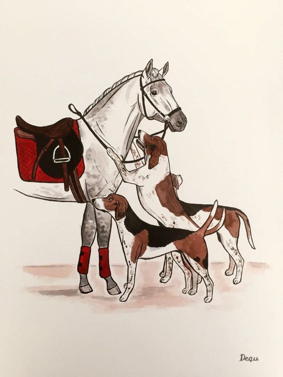 Horse and Foxhounds - Image 0