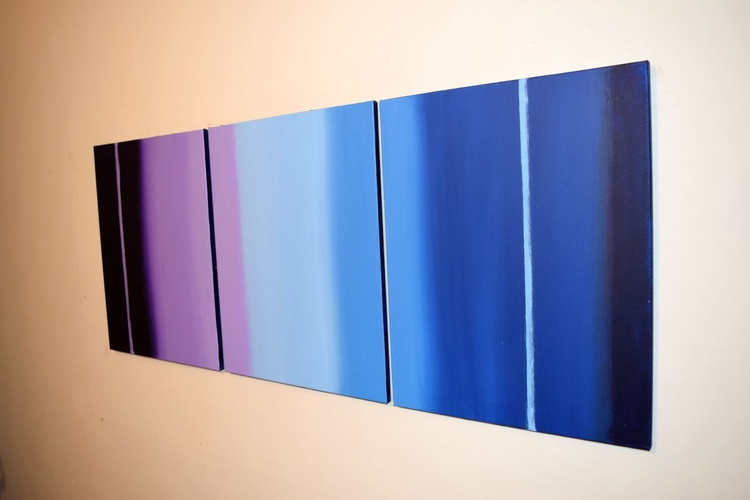 """triptych 3 panel wall art colorful images """"Purple Haze"""" 3 panel canvas wall abstract canvas pop abstraction 48 x 20 """" other sizes available - Image 0"""