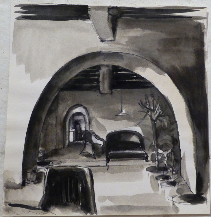 Interior: Lounge in an old house in Italy, 28x28 cm - Image 0