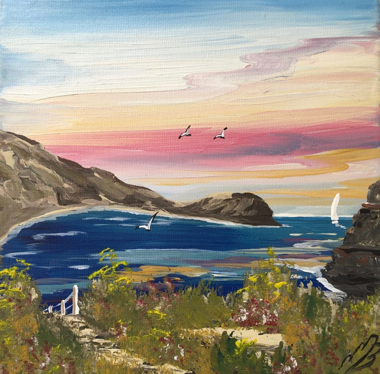 Lulworth Cove on a square canvas - Image 0