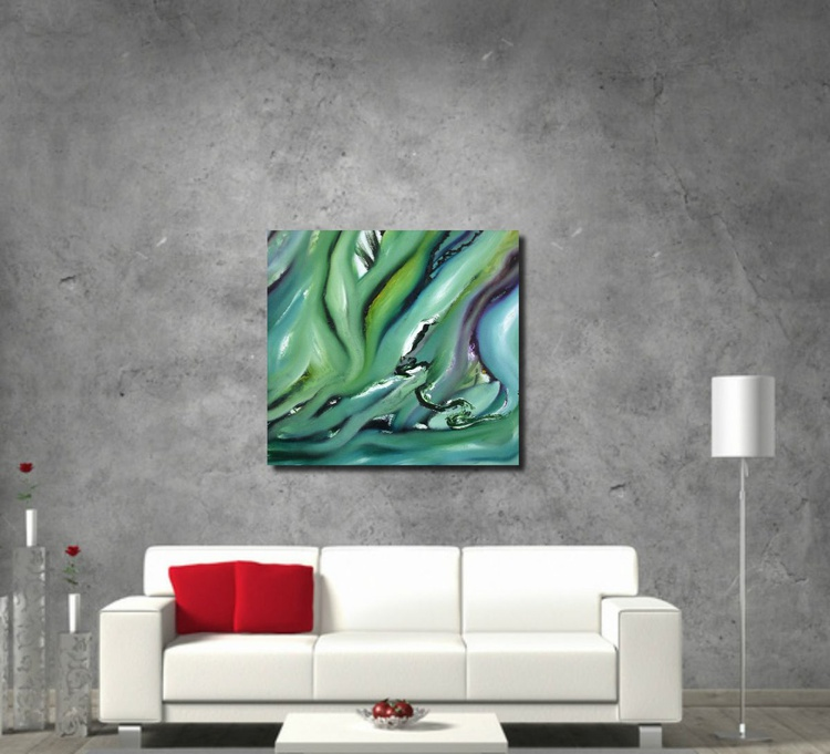 Artificial paradise, 75x70 cm, Original abstract painting, oil on canvas - Image 0