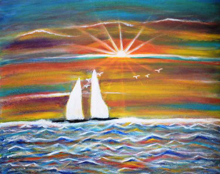 Boats at Sunset a vibrant Landscape
