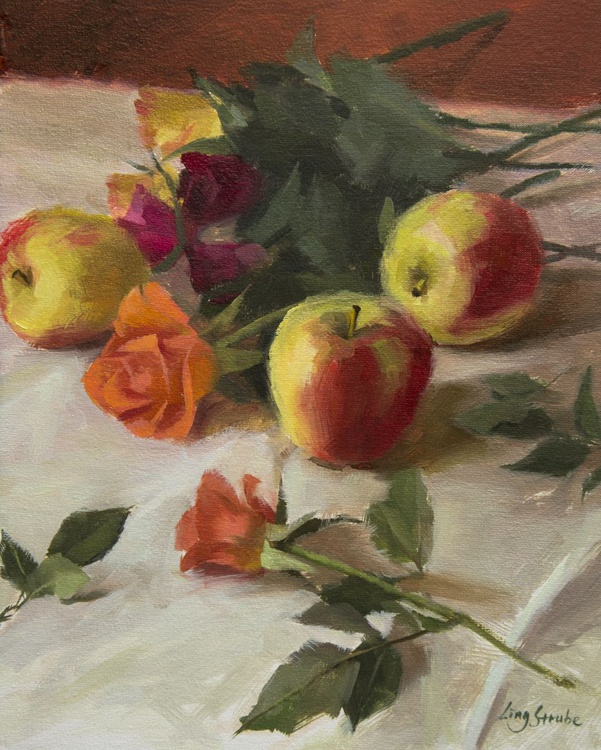 Still Life with Apples and Roses - Image 0