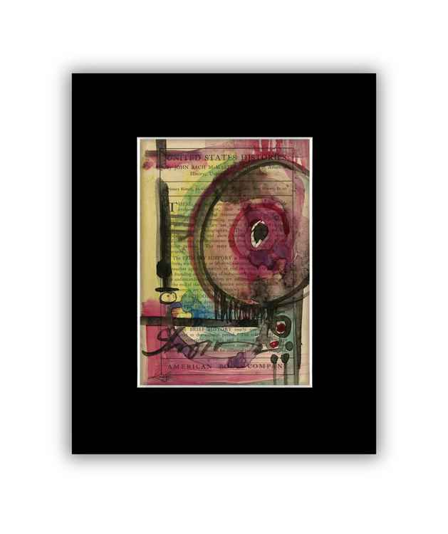 Abstract 24 on Antique Book Page - Abstract Watercolor Painting -