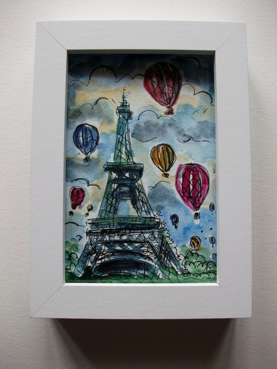 EIFFEL TOWER WITH HOT AIR BALLOONS PARIS - Image 0