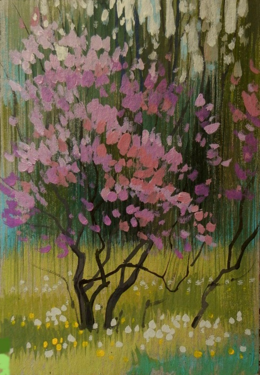 lilac, original painting, 30x21 cm - Image 0