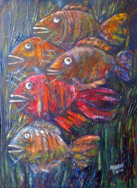 .Fish 2016yea 27X19in Original Painting Oil on Canvas FOR SALE -