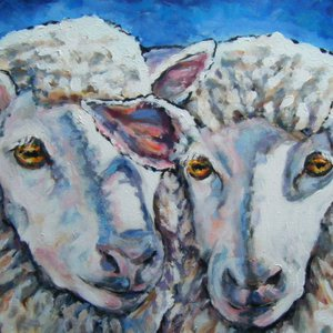 Two Sheep by Jane  Sherwood