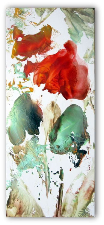 """""""Poppy Love I """" small wax painting on artist card stock - Image 0"""