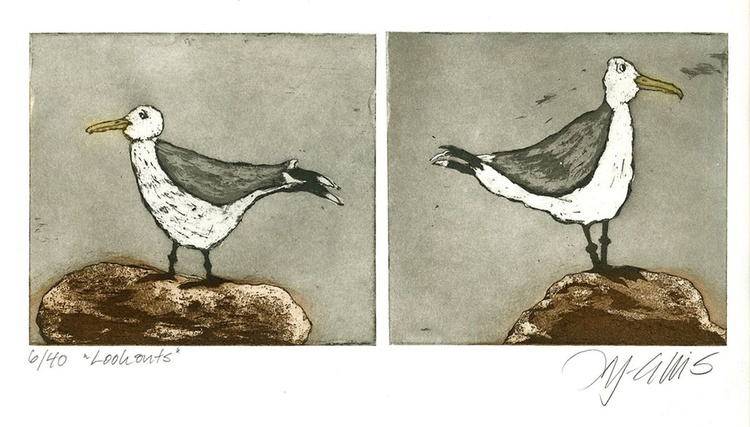 Look Outs,  aquatint etching - Image 0