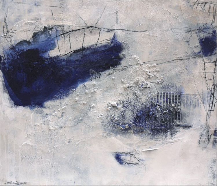 Birth Of Blue | abstract & collage | blue white cream - Image 0