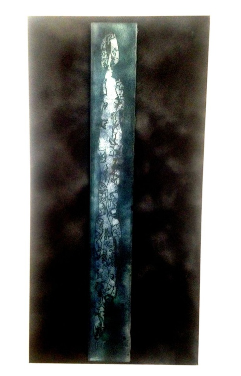 Yesterday's spirit -  large cast glass panel - Image 0