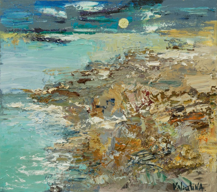 Abstract seascape original landscape painting on canvas - Image 0