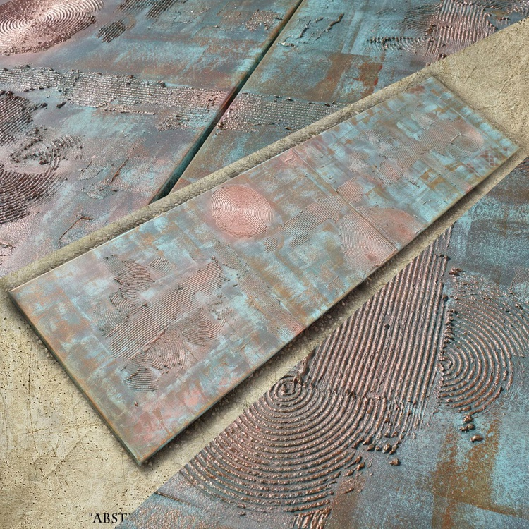copper patina Vertical long painting decor original abstract art Large paintings 50x200x2 cm stretched canvas acrylic art industrial rusty iron metallic textured wall art by artist Ksavera - Image 0