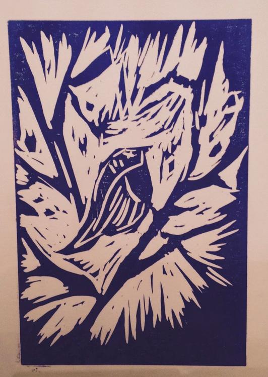 Singing the Blues: Tweet Away (II) Purple, Handmade Linocut - Image 0