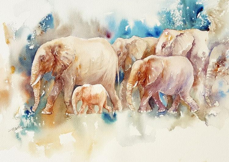 Heading Home_ Herd of Elephants - Image 0