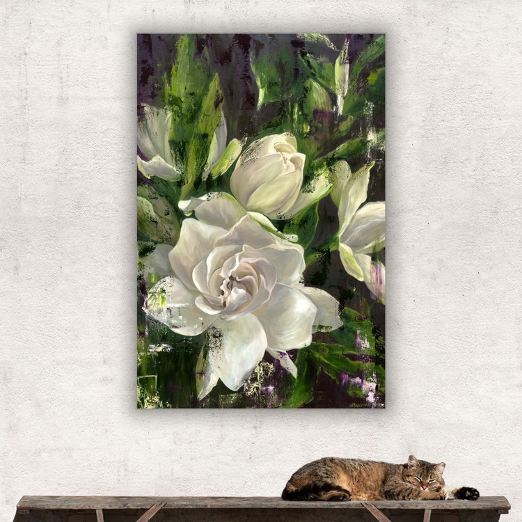 Original artwork Gardenia, Flowr painting, Delicate floral painting - Image 0
