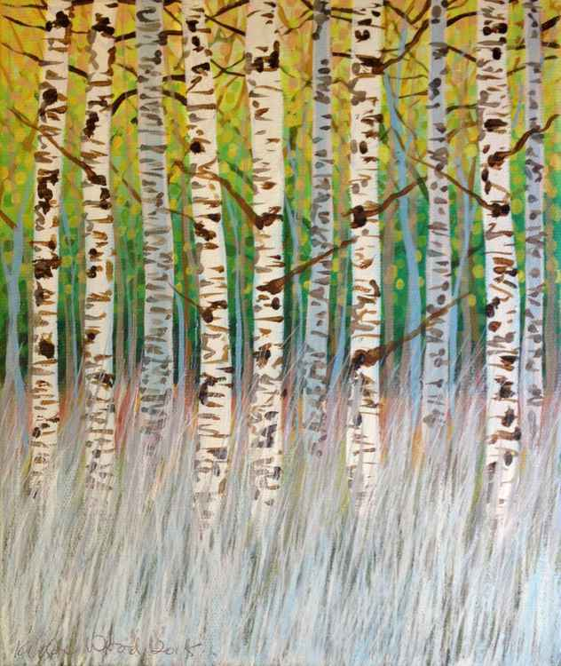 Original Painting of 'Spring Birches in Grass' by Kirstin Wood