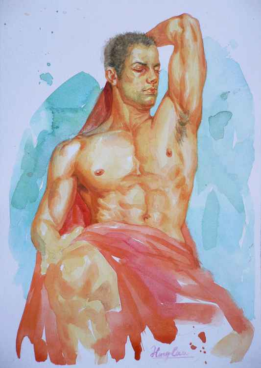 original art watercolour painting  male nude man on paper #16-4-25-08 -