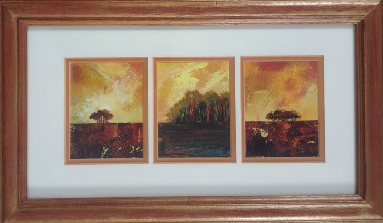 Amber Glow (framed triptych) - Image 0