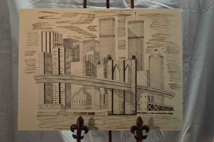 Brooklyn Bridge and the original Twin Towers -