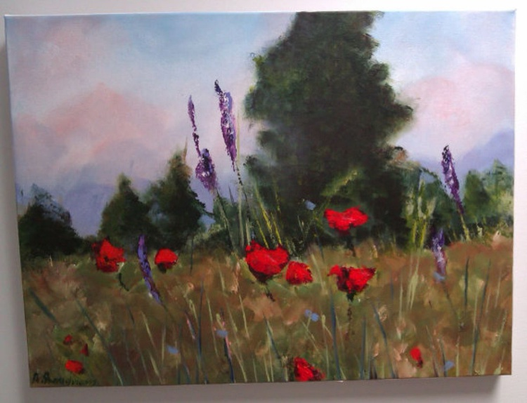 Field of Poppies Medium-Size Painting - Image 0