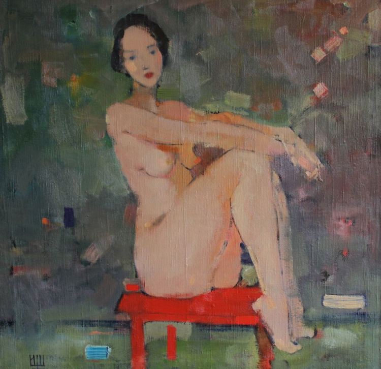 """Nude on a red chair"". 75х75 см. oil on canvas. 2014. - Image 0"