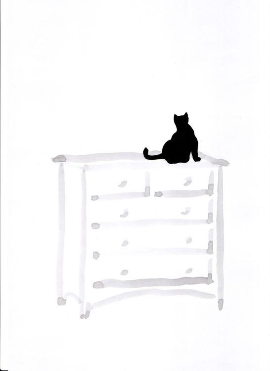 Cat on a dresser (30 x 21 cm) - Image 0