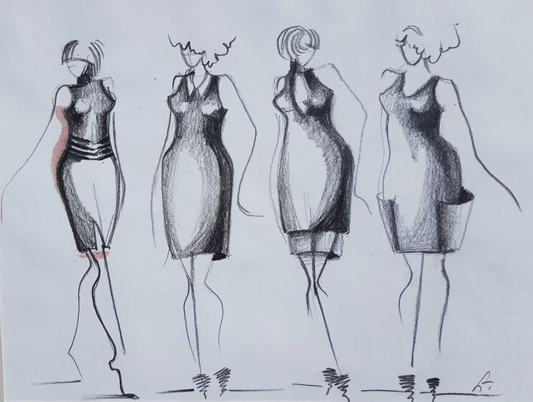 Three minimal Fashion sketch, twelve women. - Image 0