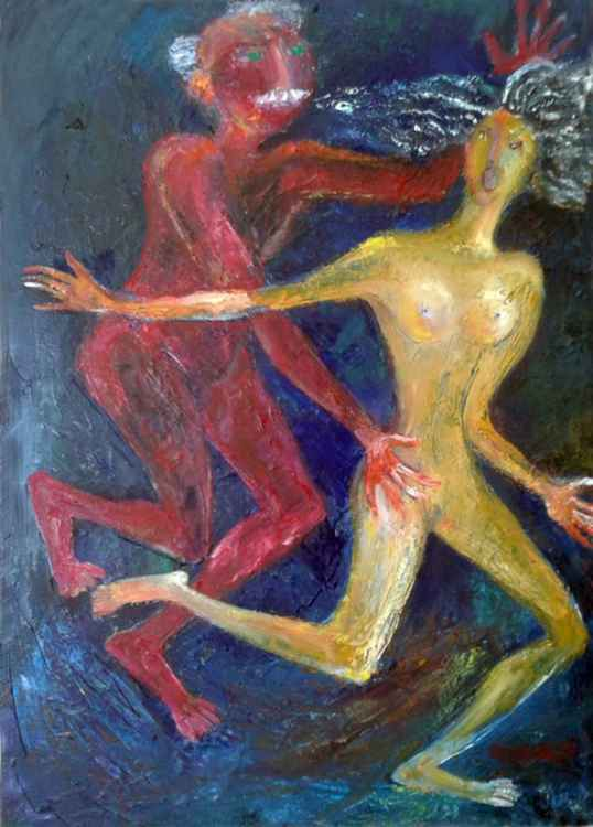 Old Lover 2016year 27x19inOriginal Painting Oil on Canvas FOR SALE