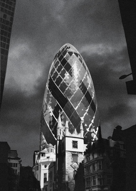 London Photos: Gherkin - A2 Edition of only 20, London Monochrome Photography Series - Image 0