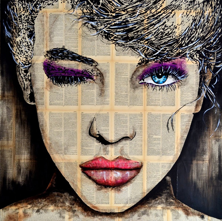 Wink - Original Acrylic Painting on Large Decoupage Deep Canvas Ready To Hang - Image 0