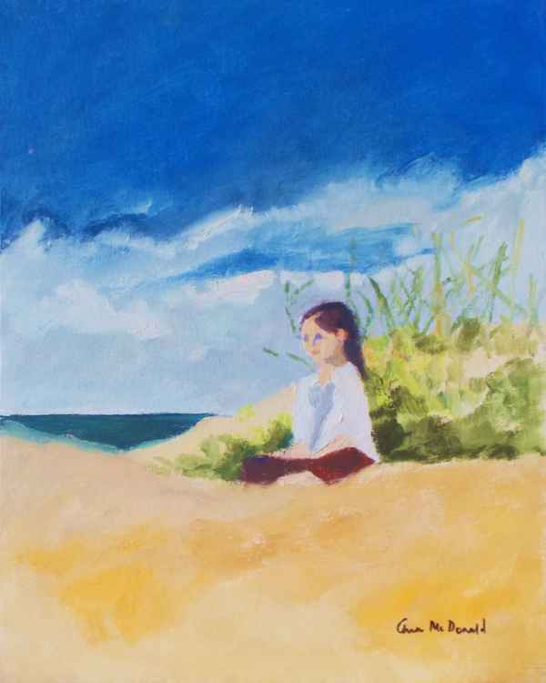 Child Sitting by Sand Dune