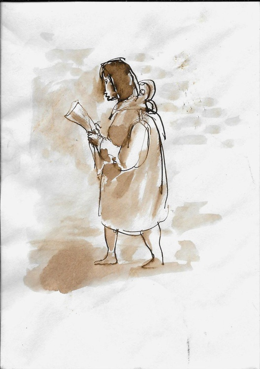 Woman reading the newspaper, drawing on an envelope #4,  17x12 cm - Image 0