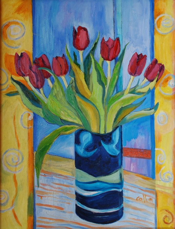 Red tulips in a green frame - Image 0