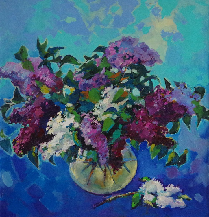 Bouquet of Lilacs, Flowers Original oil Painting, Impressionism, Painting on canvas, Signed, One of a Kind - Image 0