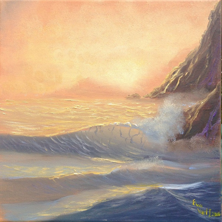 """Seascape in Sienna, ocean waves seascape, small oil painting 12x12"""" - Image 0"""