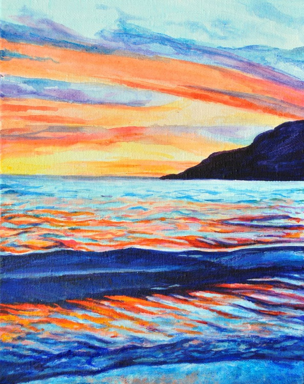 "Sunset Seascape Painting - ""Never Fade"" Acrylic on Stretched Canvas - Image 0"