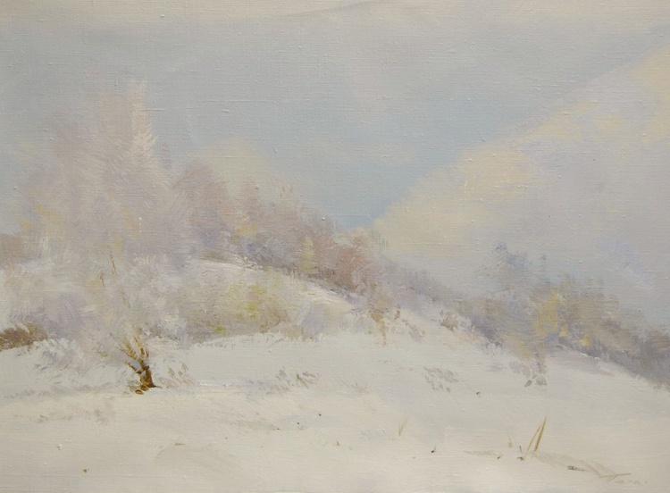 "White landscape painting  "" Winter Smile "" (409l15) - Image 0"