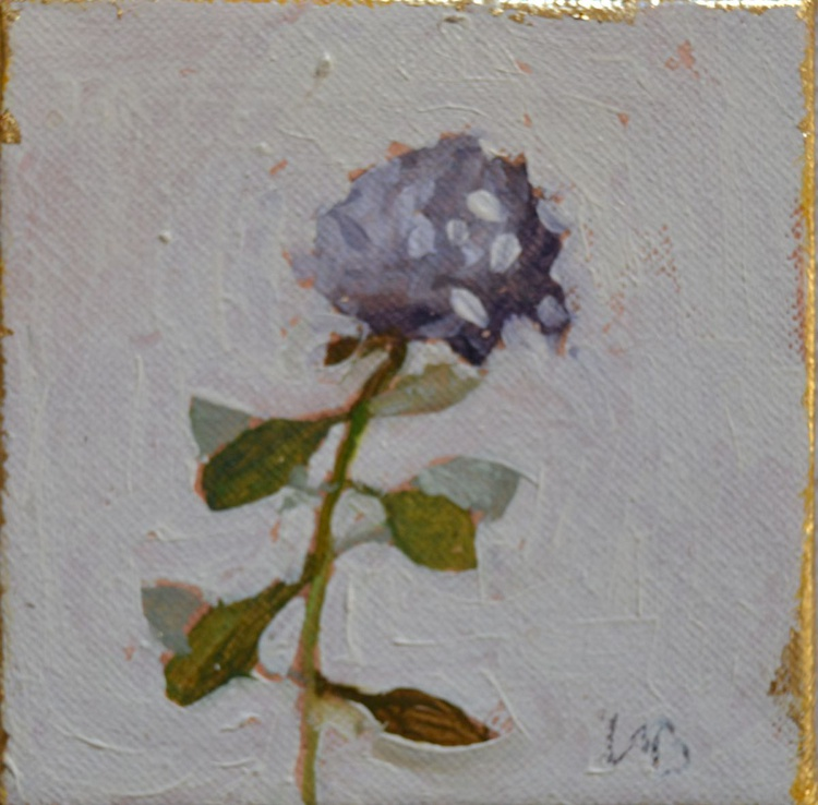 Mini Hydrangea Botanical Oil Painting with Easel - Image 0