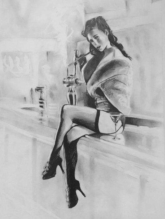 """Beautiful Barfly"" - original pencil drawing - Image 0"