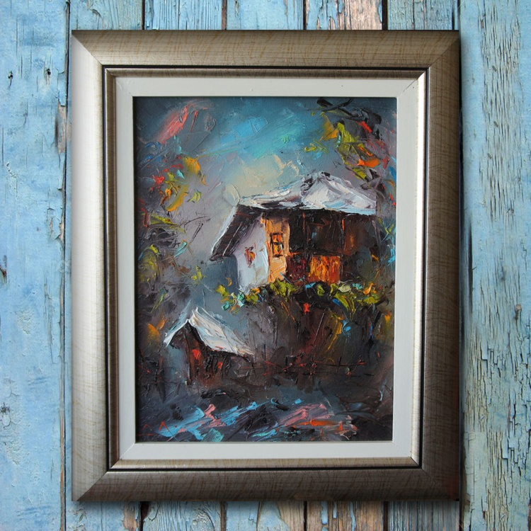 Tale, Landscape painting, Free shipping - Image 0