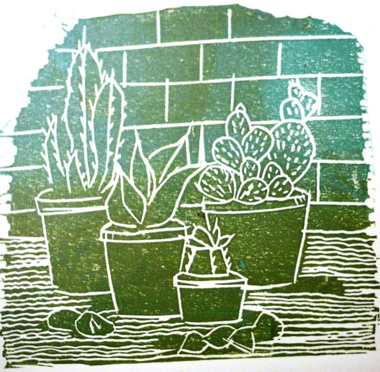 Four Cactii: It's a thorny road for dreamers, Handmade Linocut - Image 0